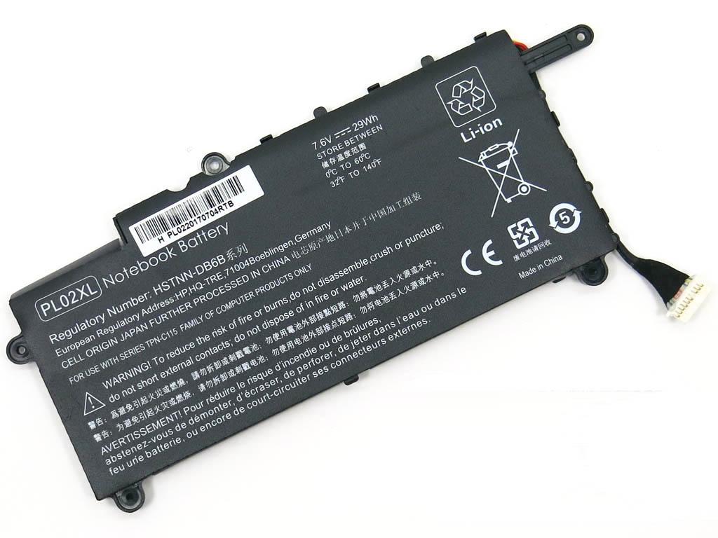 Батарея для ноутбука HP PL02XL Pavilion 11-n x360 (7.6V 29 Wh Black) P