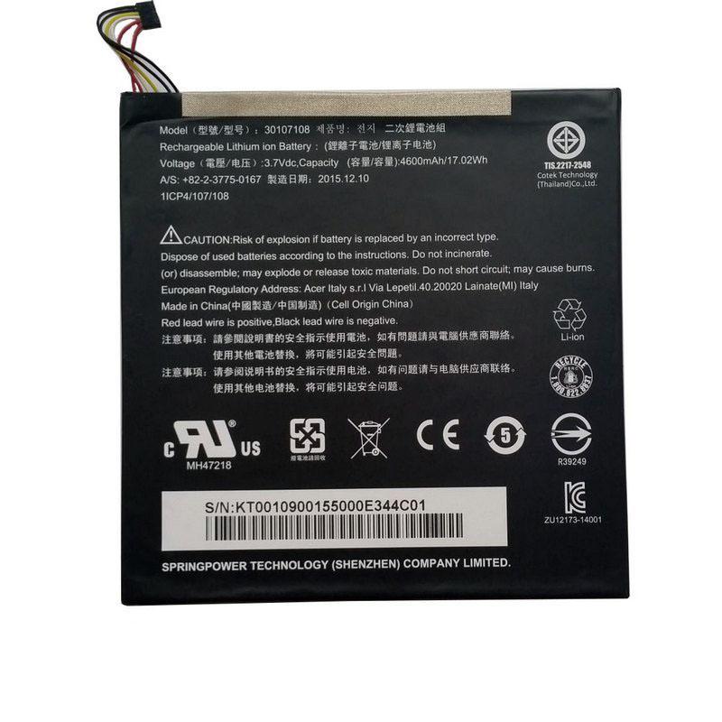 Аккумулятор Acer 30107108 3.7V Black 4600mAhr 17Wh Iconia Tab 8 A1-840